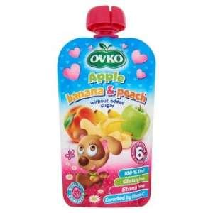 Ovko gluténmentes alma-banán-őszibarack bébidesszert hozzáadott cukor nélkül 6 hó/120 g-8 db