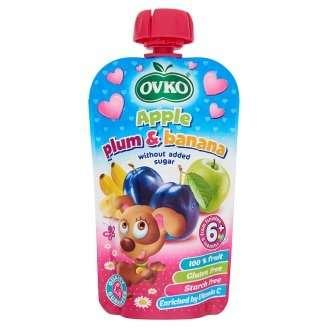 Ovko gluténmentes alma-szilva-banán bébidesszert hozzáadott cukor nélkül 6 hó/120 g - 8db
