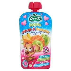 Ovko gluténmentes alma-sárgarépa-banán bébidesszert hozzáadott cukor nélkül 6 hó/ 120 g- 8db