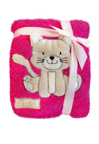 BoboBaby mikroszálas Kocsitakaró 75x100cm #rózsaszín cica