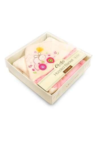 BoboBaby Cute Baby kapucnis Plüss Kifogó 75x75cm - díszdobozban #bézs-rózsaszín autós nyuszi