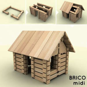 Brico Fa építőjáték 146db - Rönkház 30994306 Fa építőjáték