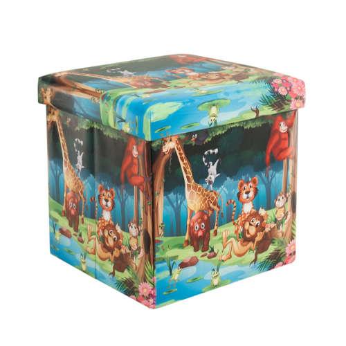 Összecsukható ülőkés tároló, dzsungel mintával