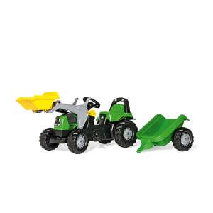 Rolly Kid Deutz-Fahr Pedálos markolós Traktor utánfutóval #zöld