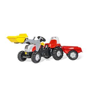 Rolly Kid Steyr 6160 CVT pedálos markolós Traktor utánfutóval #piros