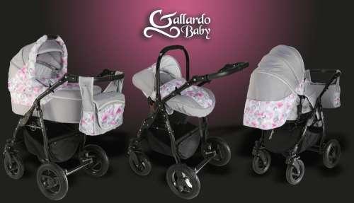 Gallardo Baby Black Lux #szürke #rózsaszín #virág mintás