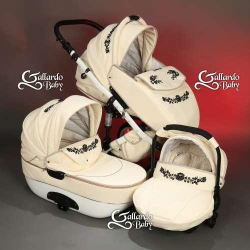 Gallardo Baby Unique #krém Eco-bőr #kézzel #hímzett #fekete-ezüst szálú #kalocsai mintával