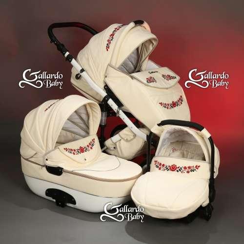 Gallardo Baby Unique #krém Eco-bőr #kézzel #hímzett #fekete-piros #kalocsai mintával