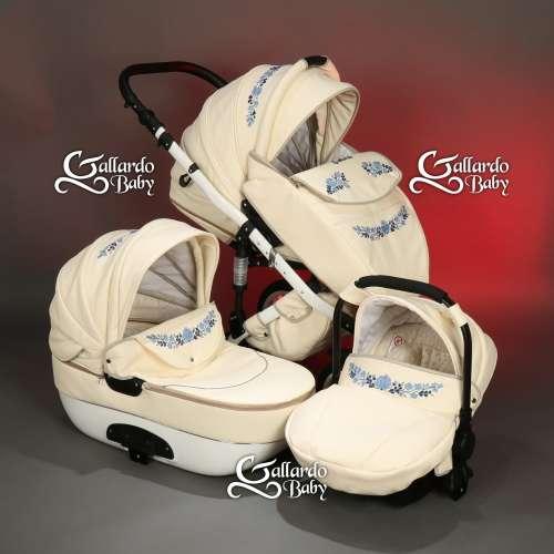 Gallardo Baby Unique #krém Eco-bőr #kézzel #hímzett #sötétkék-világoskék #kalocsai mintával