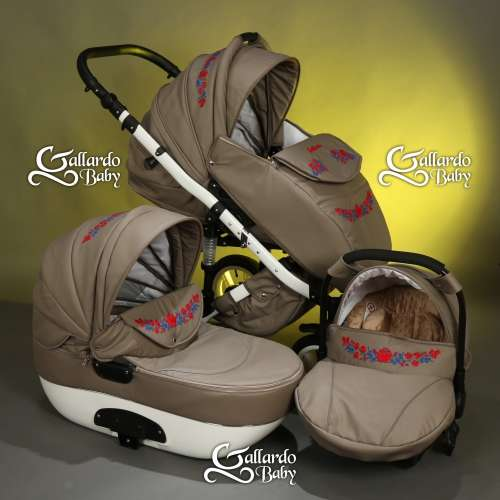 Gallardo Baby Unique #cappucino Eco-bőr #kézzel #hímzett #kék-piros #kalocsai mintával