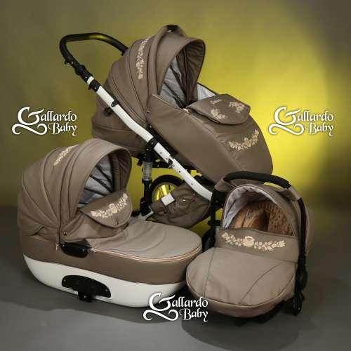 Gallardo Baby Unique #cappucino Eco-bőr #kézzel #hímzett #ecrü-arany szálú #kalocsai mintával