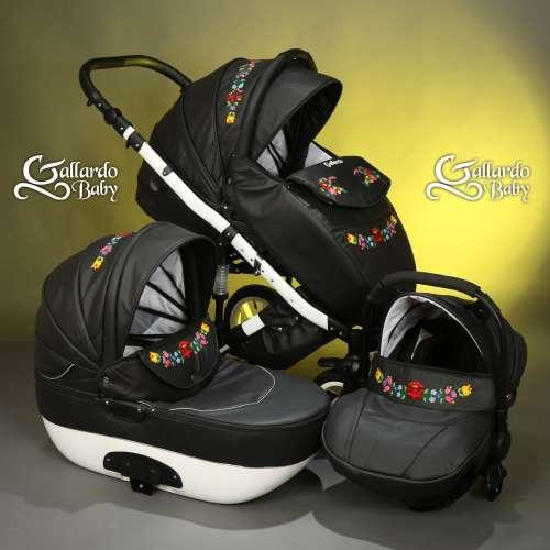 Gallardo Baby Unique #fekete Eco-bőr #kézzel #hímzett tradicionális #kalocsai mintával