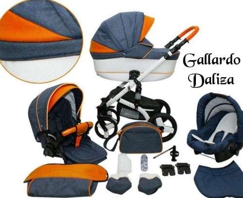 Gallardo Baby Daliza multifunkciós Babakocsi #gránátkék Jeans ##narancssárga ECO #bőr