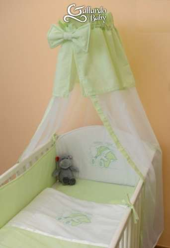 Kiwi színű #csíkos #hímzett alvós #maci #4részes Babaágynemű Szett
