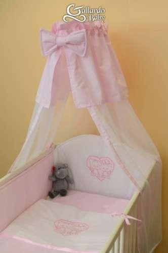 Hamvas-rózsaszín #hímzett #cica #4részes Babaágynemű Szett