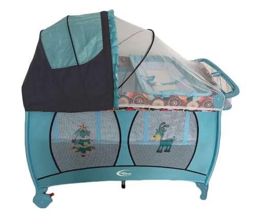 MamaKiddies VIP kék (emelhető magasságú és ringatható) Utazóágy + Szúnyogháló + Ajándék