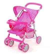 Rózsaszín #fehér pöttyös hatkerekű tálcás baba Babakocsi 30233831