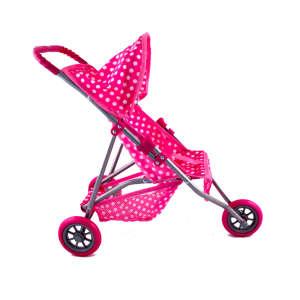 Háromkerekű Játék babakocsi - Pöttyös #rózsaszín 30476672