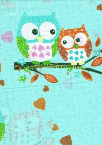 1db-os színes mintás Textil Pelenka #zöld baglyok