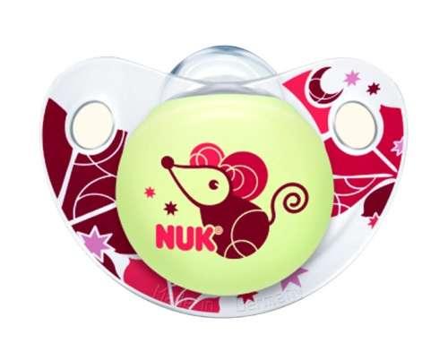 Nuk Night&Day szilikon világítós Altatócumi gyűrű nélkül 1-es méret 0-6hó+ #rózsaszín