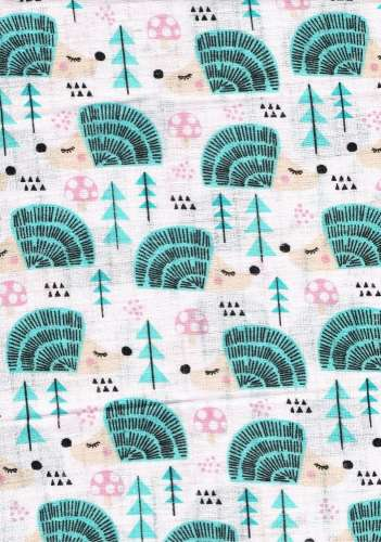 1db-os színes mintás Textil Pelenka - süni