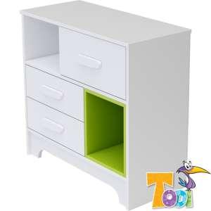 Todi Bianco 3 fiókos Komód - bordázott #fehér-zöld 30312550 Pelenkázó komód