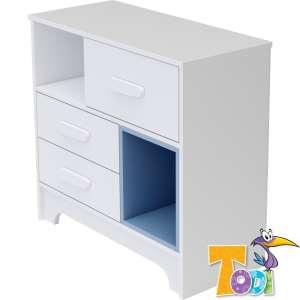 Todi Bianco 3 fiókos Komód - bordázott #fehér-kék 30308934