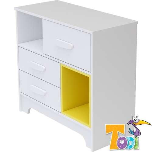 Todi Bianco 3 fiókos Komód - bordázott #fehér-sárga