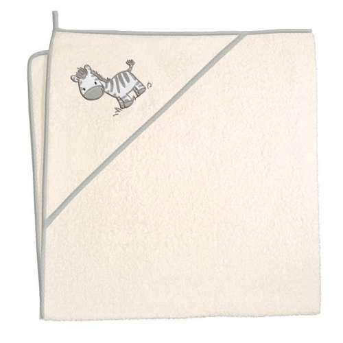 Ceba Baby kapucnis Fürdőlepedő 100x100cm #bézs - zebra