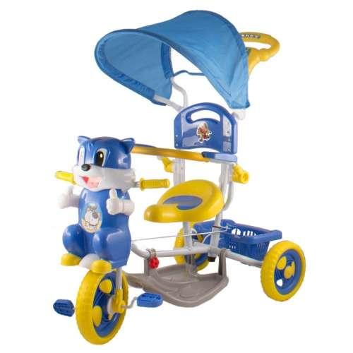 Szülőkormányos Tricikli - Cica #kék-sárga