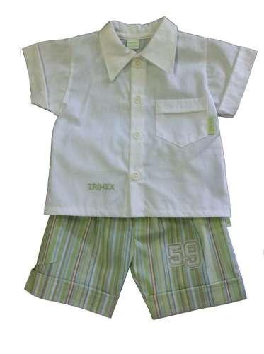 Keresztelő ruha fiús - rövid ujjú #fehér-zöld