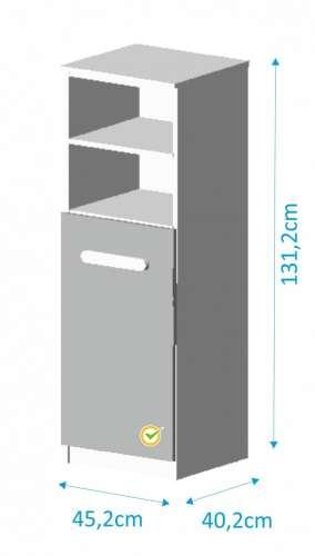Todi Kaméleon keskeny nyitott polcos + 1 ajtós Szekrény #fehér-világosszürke
