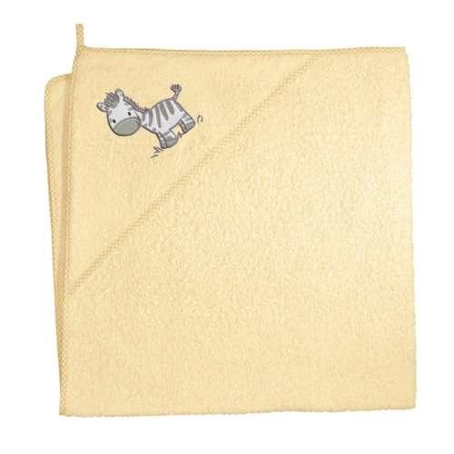 Ceba Baby kapucnis Fürdőlepedő 100x100cm #sárga - zebra