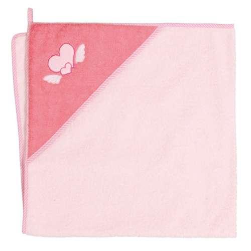 Ceba Baby kapucnis Fürdőlepedő 100x100cm #rózsaszín szív