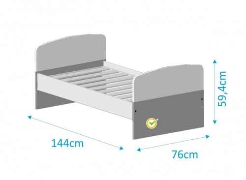 Todi Kaméleon junior ágy 70x140cm #fehér-világosszürke