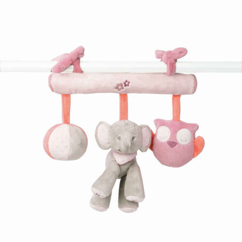 Nattou Felakasztható játék - Elefánt és bagoly #rózsaszín
