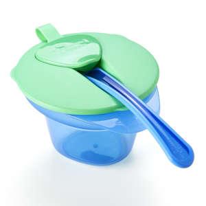 Tommee Tippee Explora Cool & Mash Etetőtál kanállal #kék-zöld 30256386 Étel-Ital tároló