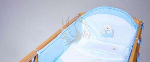 3 részes pamut hímzett babaágynemű #pöttyös #maci #kék