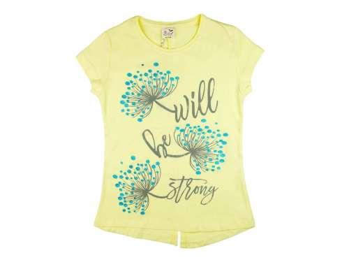 Lányka csillogós pitypang virágos rövid ujjú Póló #sárga (méret:128-164)