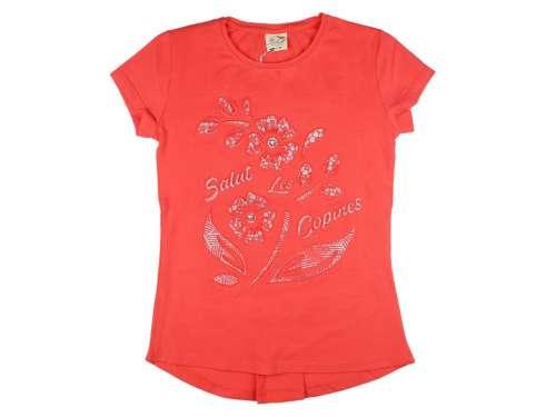 Lányka virág mintával dombornyomott rövid ujjú Póló#narancs (méret:128-164)