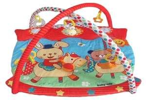 Baby Mix piros szélű téglalap alapú Játszószőnyeg #lovagló nyuszis 30264250