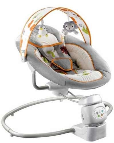 Baby Mix prémium Elektromos Hinta és Pihenőszék # #szürke#narancs csíkkal