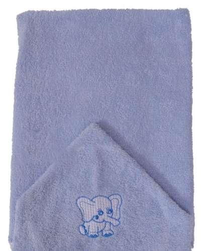 Elefántos hímzett babakifogó 75x120cm #kék