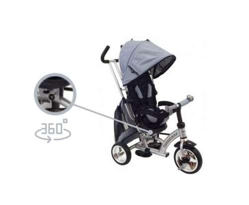 Baby Mix 360 Turbo Tricikli tolókarral és lábtartóval #szürke 360°-ban forgatható ülés)