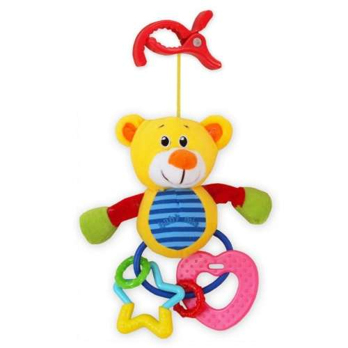 Baby Mix macis babahordozóra vagy babakocsira szerelhető plüssjáték rágókával