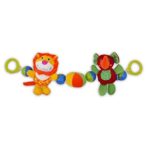 Babakocsira szerelhető Baby Mix oroszlános és elefántos lánc