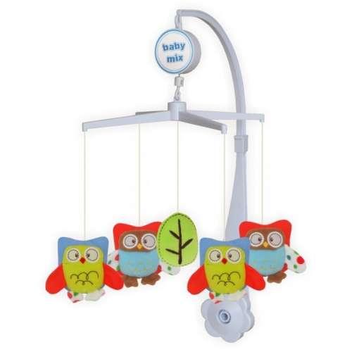Baby Mix zenélő-forgó játék plüss baglyokkal kiságyra