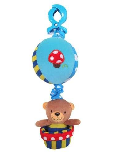 Baby Mix babakocsira vagy babahordozóra szerelhető plüssmacis kék labdás játék