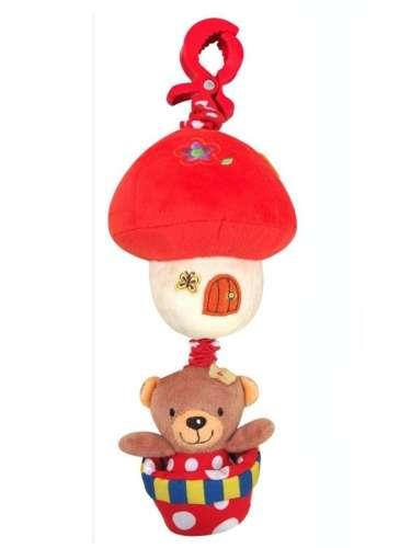 Baby Mix babakocsira vagy babahordozóra szerelhető plüssmacis piros házikós játék