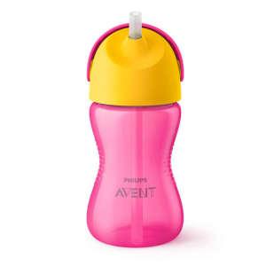 Avent Itatópohár rugalmas szívószállal 300ml #rózsaszín-narancssárga 30493392 Itatópohar, pohár, kulacs